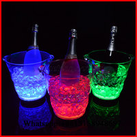 Free Shipping! 5pcs/lot 5L LED Growing Ice Bucket Champagne Bucket For Night Bar Pub KTV Use Color Changing Round Shape