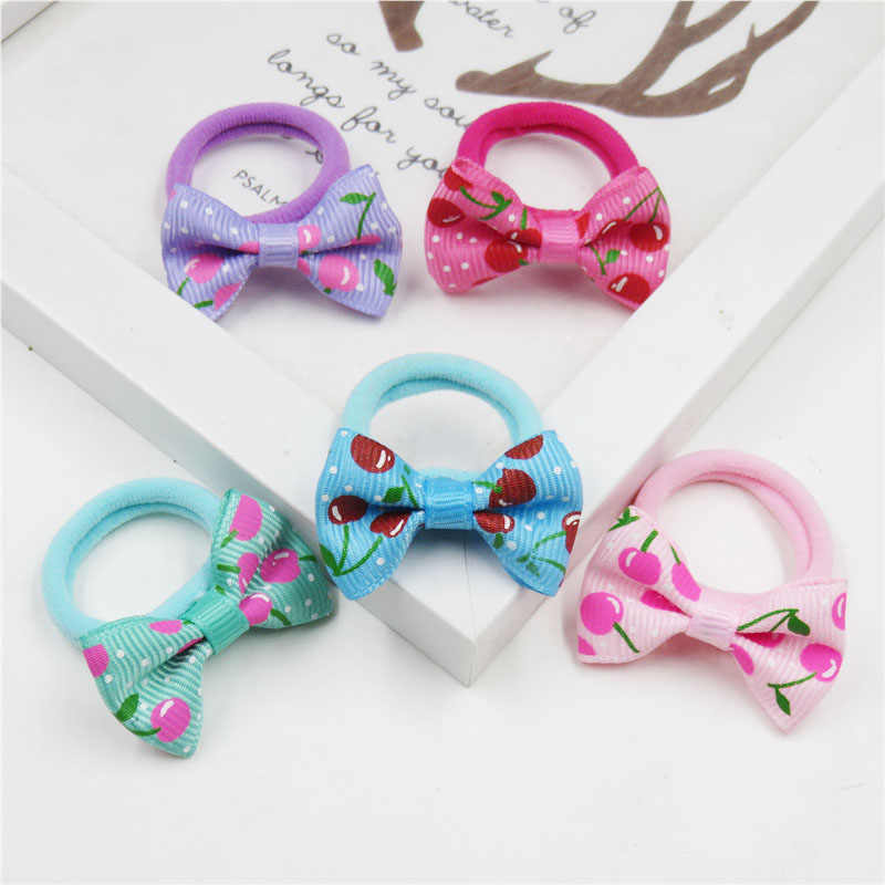 2PCS/LOT Lovely Cherry Small Bow Hairpin For Girl Hair Tie Child Elastic Hair Bands Scrunchy Clips Hair Accessories For Kids