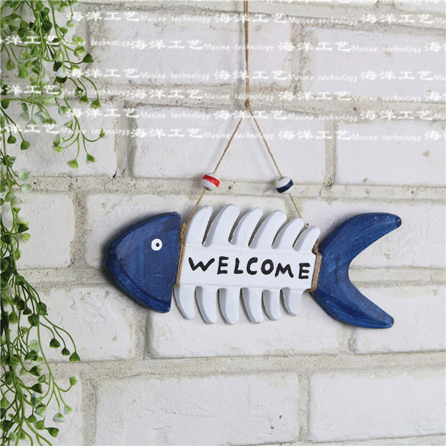 Free shipping mediterranean creative wooden fish bone hanging decoration marine ornaments crafts decorative decoration crafts