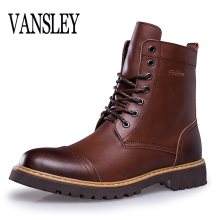 Nieuwe Herfst Winter Mode Mannen Laarzen Vintage Stijl Rijden Casual Mannen Werken Schoen High-cut Lace-up Warm pluche Motorlaarzen(China)