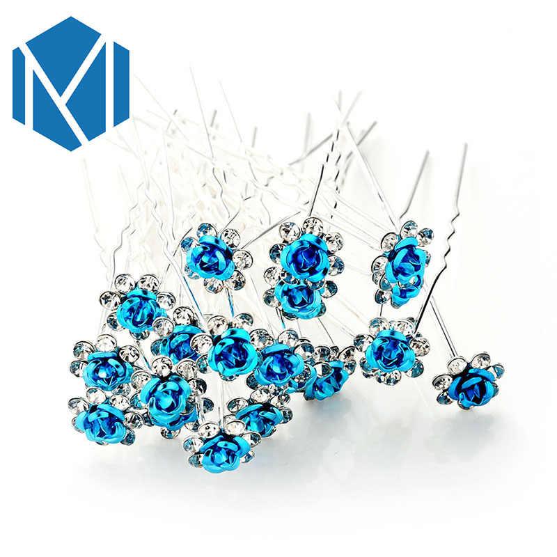 M MISM 20 шт горный хрусталь цветок шпильки для волос аксессуары гребень для волос шпильки-зажимы заколка для волос для женщин девочек невесты Свадебная вечеринка