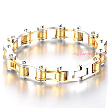 20.5cm*10mm Fashion Men's Jewelry Silver Gold Stainless Steel Bracelet Biker Bicycle Motorcycle Chain Man Bracelets Bangle