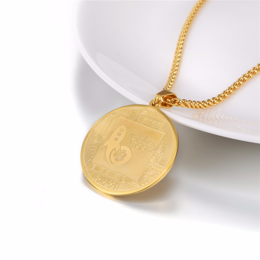 Steel/Gold/Black Bitcoin Pendant 4