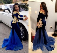 Saudi Arabic Long Sleeve Evening dress Nave Blue Gold Appliques Mermaid Prom Dresses Off The Shoulder African Special Occasion