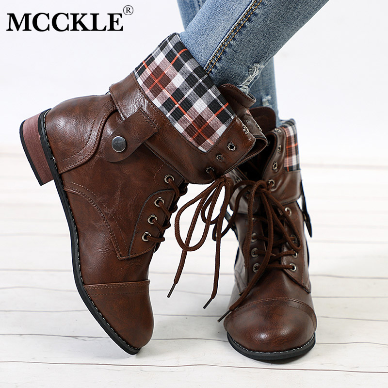 f83ac730792e1 MCCKLE Plus Size Women Boots Autumn Lace Up Motorcycle Boot Female Platform  Casual Buckle Retro Ladies Footwear Low Heel Shoes -in Mid-Calf Boots from  Shoes ...