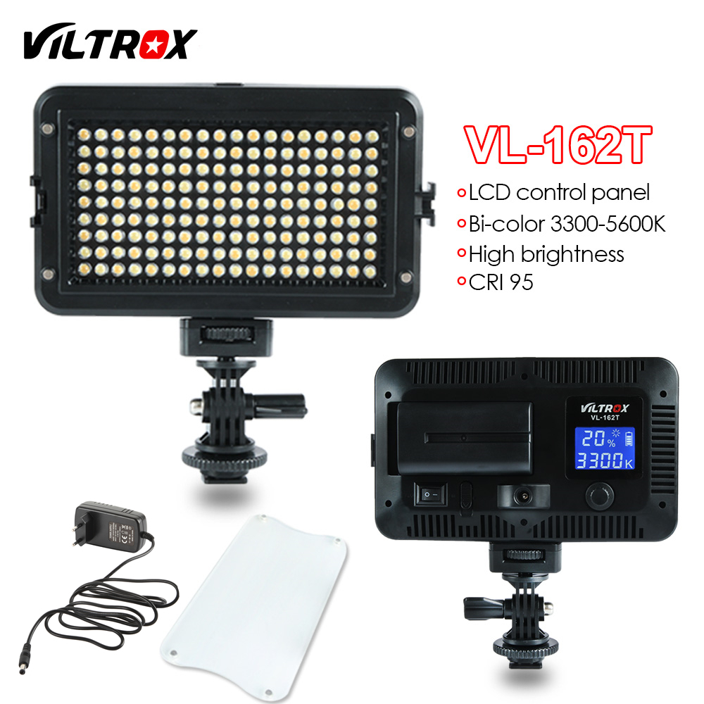 Viltrox VL-162T Camera LED Video Light LCD Panel 3300K-5600K Bi-Color Dimmable + AC power Adapter for Canon Nikon Sony Camcorder ac power adapter dc 8 4v 1 5 1 7a original for sony camera camcorder ac l200b l25b lcc77