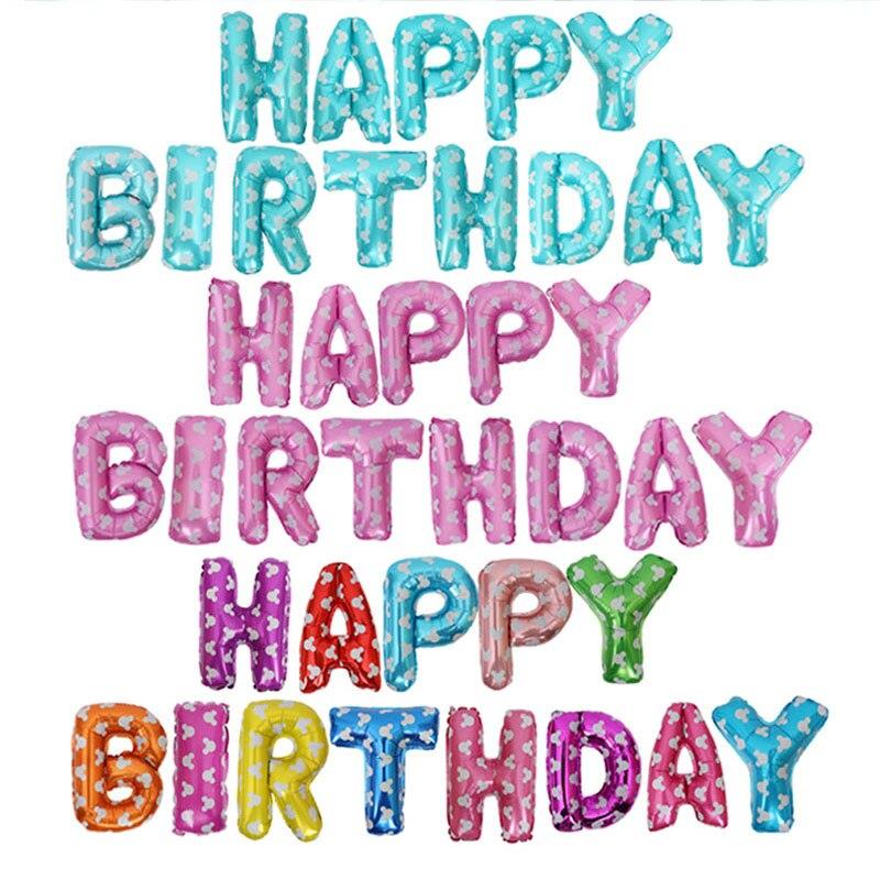 16 palců Všechno nejlepší k narozeninám fólie balónky sady zlatá stříbrná modrá růžová multi mickey party dekorace balónky baby dopisy balónky  t