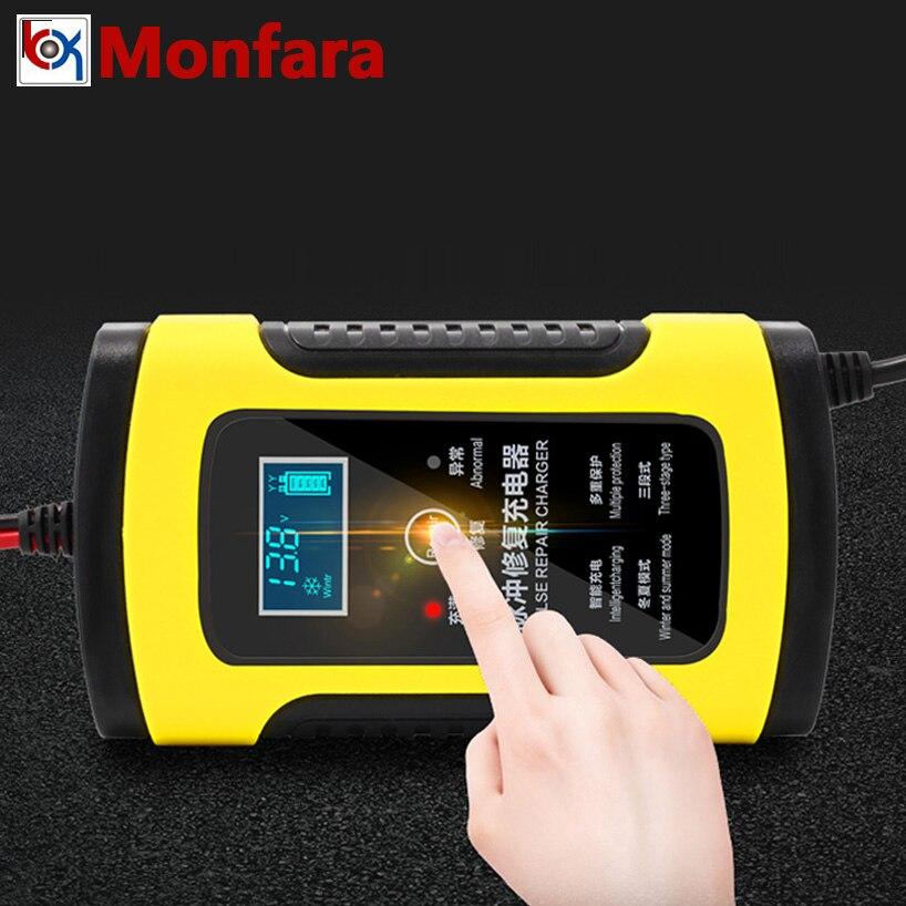 12 V 6A LCD rápido inteligente cargador de batería de coche para Auto de la motocicleta de plomo-ácido AGM GEL baterías de Carga inteligente 12 V Volt 6 AMP