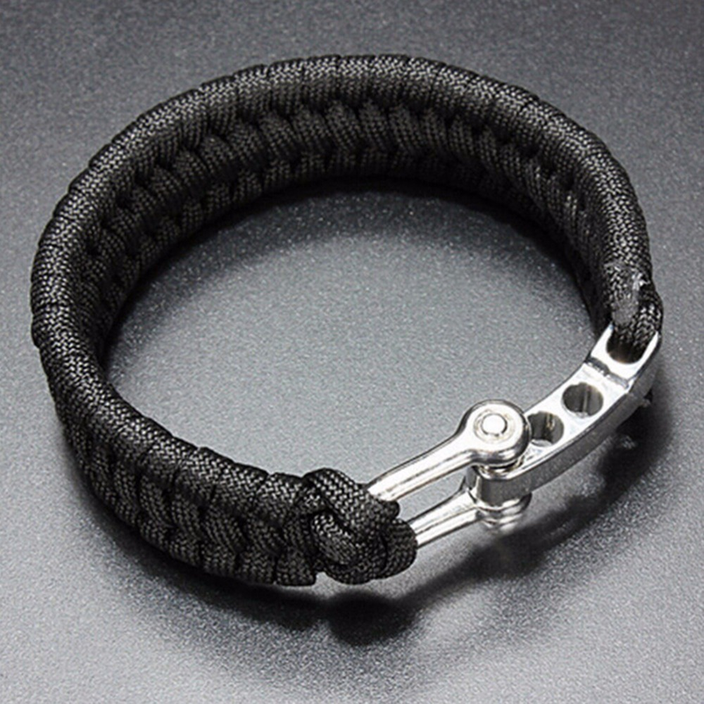 1pc Survival Rope Paracord Bracelet Outdoor Camping Hiking Steel Shackle Buckle