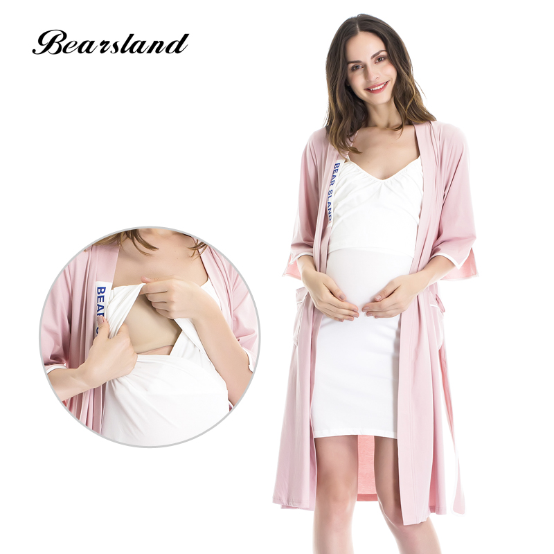 Bearsland Womens Maternity Nursing Nightdress Robe and Breastfeeding Pajama 2pcs Set AB006 ...