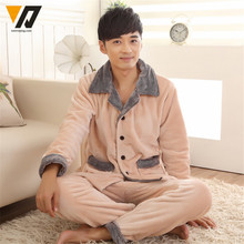 Men Coral Velvet Pajamas Shirts Flannel Set Winter Soft Thick Mink Cashmere Loungewear Long-sleeve Casual Sleepwear Suit