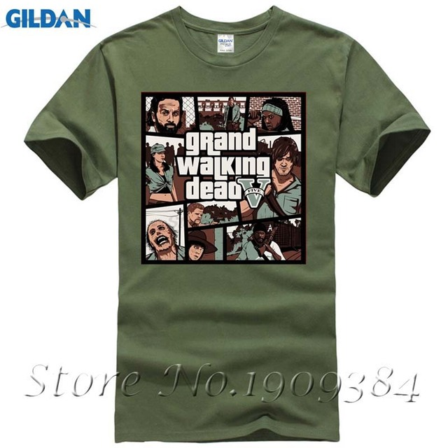 8b82adbb688 Geek Short Sleeve Cotton Grand Walking Dead Men t-shirt Male Clothes Cheap  Sale Hot Sale Men T Shirt Fashion. ELWOOD Checked Tall Mens ...