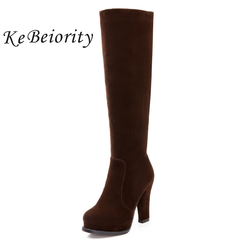 KEBEIORITY Fashion High Heels Boots Women Platform Black Brown Red Knee High Boots Female Ladies Autumn Shoes Woman Boots 2017 newest women half knee high motorcycle boots vintage chunky heels spring autumn outdoor platform shoes woman female boots
