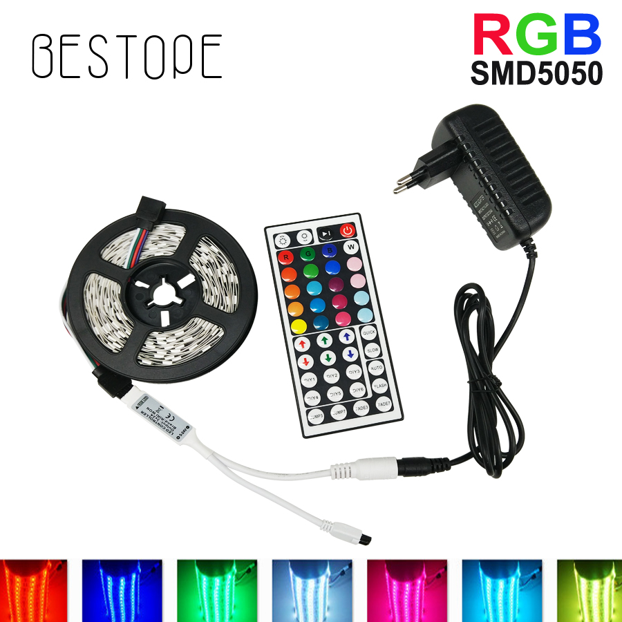 BESTOPE RGB LED Strip Light 5050/2835 SMD RGB Tape 5M 10M LED Tape lamp flexible Waterproof diode+IR Controlle+DC12V Adapter set 10m 5m 3528 5050 rgb led strip light non waterproof led light 10m flexible rgb diode led tape set remote control power adapter