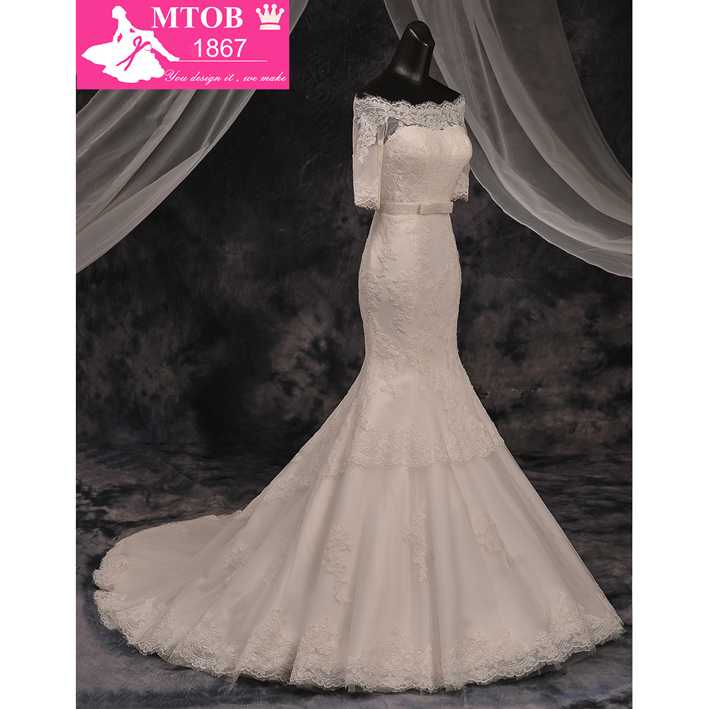 Robe De Mariage Fashionable Boat Neck Off the Shoulder Mermaid Wedding Dresses Lace Wedding Dress Vestido