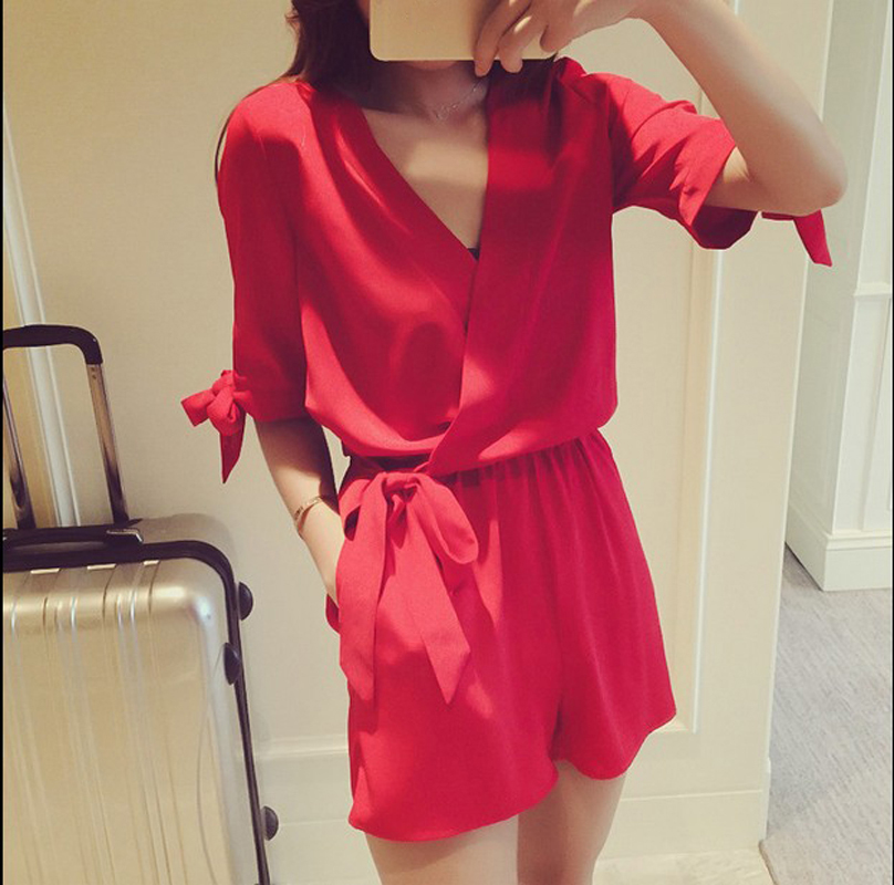 2016 New Fashion Rompers for Sexy Women Casual Loose Clubwears Girls Red Jumpsuits V neck With Short Pant Clothing Size M L#H924