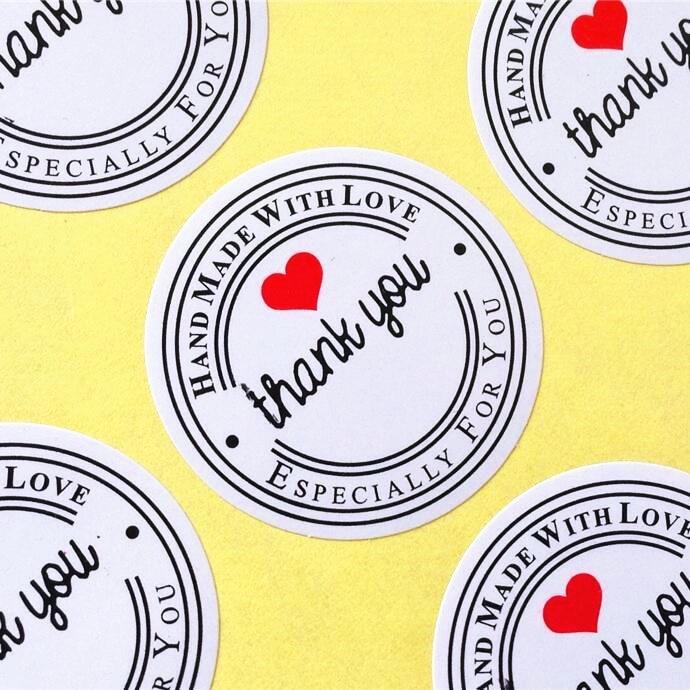 "Купить с кэшбэком 100pcs/lot ""Thank you"" Round White Kraft Stationery label sticker DIY Retro Seal sticker For products handmade with Love"