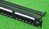 LINKWAY 19 24ports Cat 6 Patch Panel Front Panel With Label Field RJ45 Sockets With Shutter