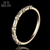 HELON Solid 14K Yellow Gold Round Full & Baguette Cut 100% Genuine Natural Diamonds Engagement Wedding Jewelry Women Ring Band