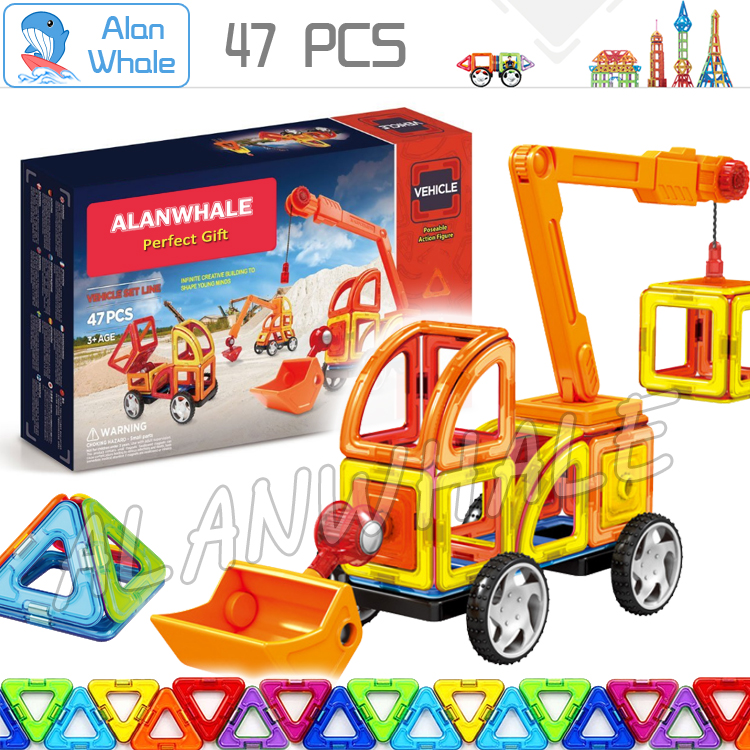 47Pcs Vehicle Toy Bricks 3D DIY Magnetic Model Kits Magnets Building Blocks Matched Toys Kids Birthday Gifts Family Power Set 62pcs set magnetic building block 3d blocks diy kids toys educational model building kits magnetic bricks toy