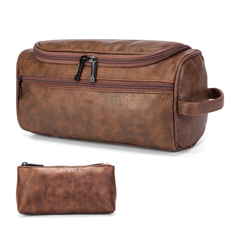 Men's Vintage PU Leather Washing Storage Bag Large & Portage Travel Makeup Toiletry Bag For Women Neceser Mujer Neceser Hombre