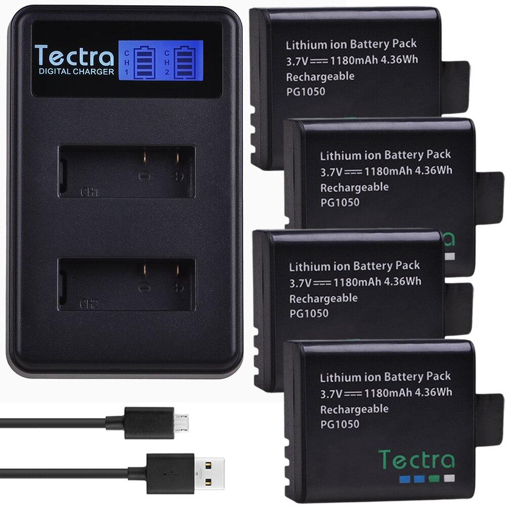 4 piezas recargable Cámara batería PG1050 + LCD cargador Dual para la cámara de acción deportiva SJCAM, SJ4000, EKEN H9 H9R H3 H3R H8PRO H8R H8