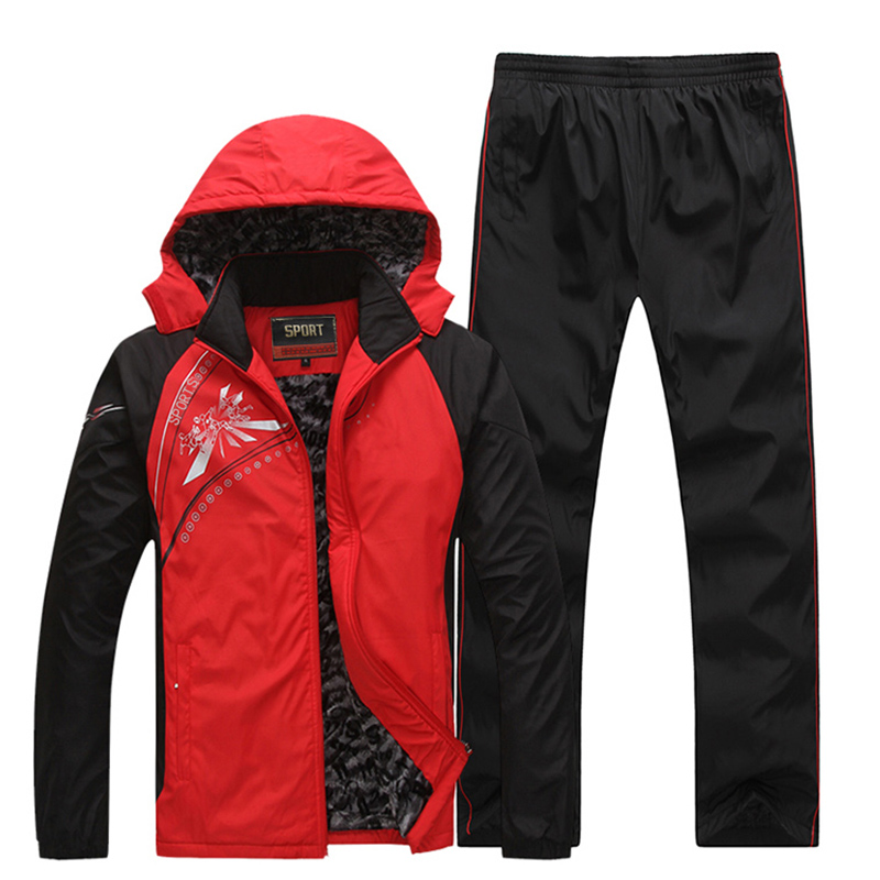 2019 New Men's Winter Tracksuits 2 Pieces Suits Coat + Pants Thicken Warm Casual Male Sportswear Coats Hoodie Jacket Sets