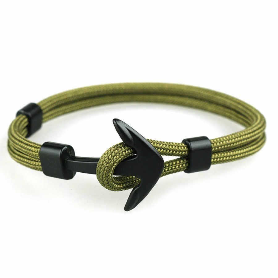 1 sztuk sprzedać moda czarny kolor charm kotwica bransoletki mężczyźni przetrwania Rope Chain Paracord bransoletka Metal Sport haki