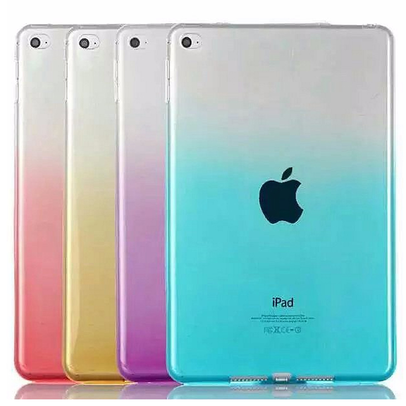 New Soft For Coque iPad mini 4 Case Rainbow Color TPU Tablet Cover For Apple iPad Mini 1 2 3 Cover Gel Coque soft tpu tablet back case for ipad air 1 2 silicone transparent cover for ipad mini 1 2 3 for ipad2 3 4 crystal protective case
