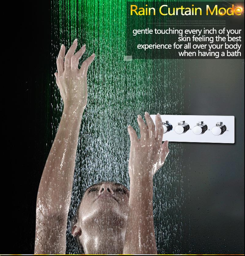 Luxurious LED Shower System Ceiling Mount Rain Head Set 31 Luxury Big Rain Shower Head Dual Rain and Waterfall Shower Sets (10)