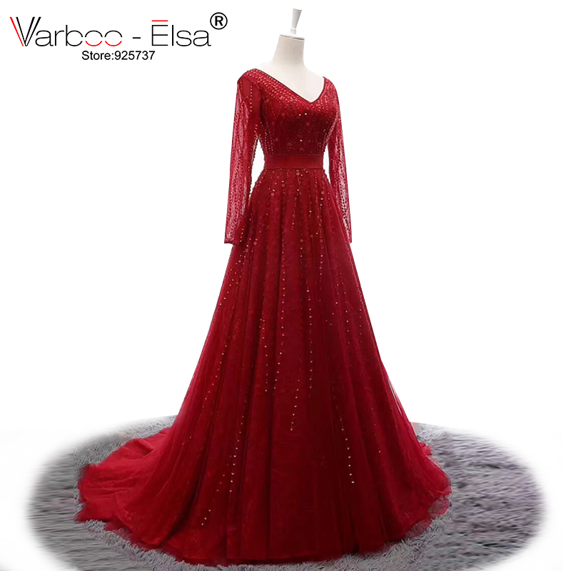 VARBOO_ELSA Double V Neck Sexy Prom   Dress   Long Sleeve Red Tulle Floor-Length   Evening     Dress   Beading Sequined Wedding Party Gown