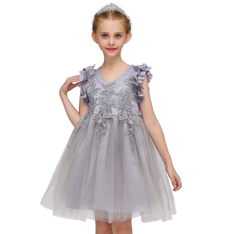 3-12 Years Children Embroidery Princess Girl Dress for Wedding Birthday Party Girl Lace Flower Kids Prom Dresses for Girls 8 colors european style kids summer birthday prom party princess flower girl dresses lace mint dress for girls aged 3 to 13
