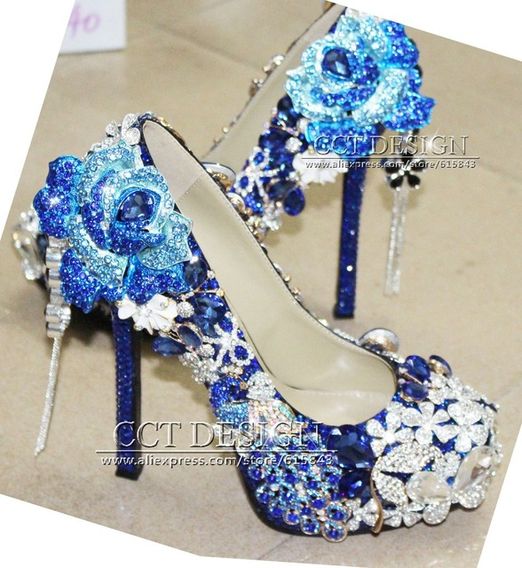 364809cdf7 US $308.0 |Luxury Handmade Customized Royal Blue Rhinestone Wedding Shoes  Peacock and Rose Flower Decorations High Heels-in Women's Pumps from Shoes  ...