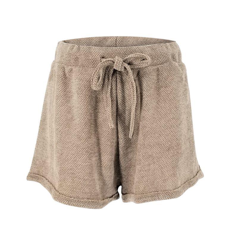 Mulheres Da Praia do Verão 2019 Calções de Lazer Elástico Sólido de Alta Cintura Solta Calças Curtas Lace up - 5