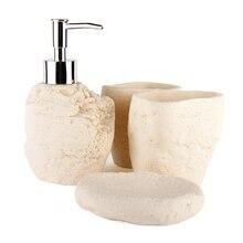 Набор для ванной комнаты в скандинавском стиле, 4 предмета, каменные принадлежности для ванной комнаты, держатель для зубной щетки из песчаника, набор дозаторов на выбор, 2 цвета