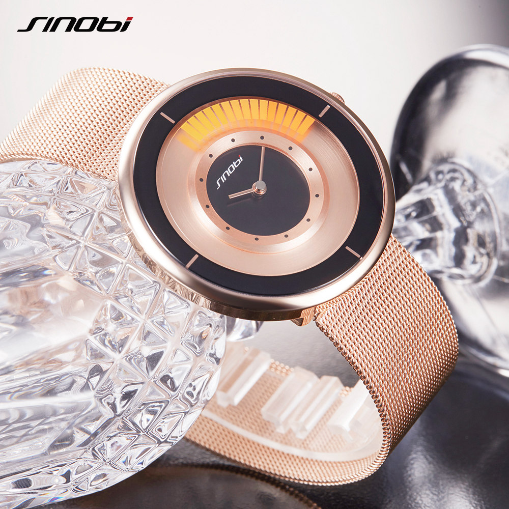 SINOBI Luxury Brand New Men Women Watches Rose Gold Quartz Watch Waterproof Steel Mesh Band Wrist Watch ladies Clock reloj mujer reloj mujer gold watch women luxury brand new geneva ladies quartz watch gifts for girl stainless steel rhinestone wrist watches