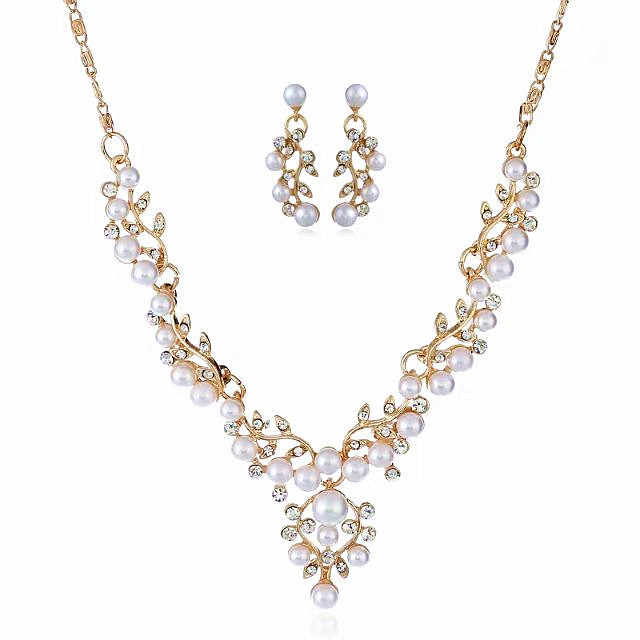 Hesiod Bridal Simulated Pearl Jewelry Sets Gold Silver Color Lead Crystal Pendant Necklace Women Stud Earrings Sets Accessories