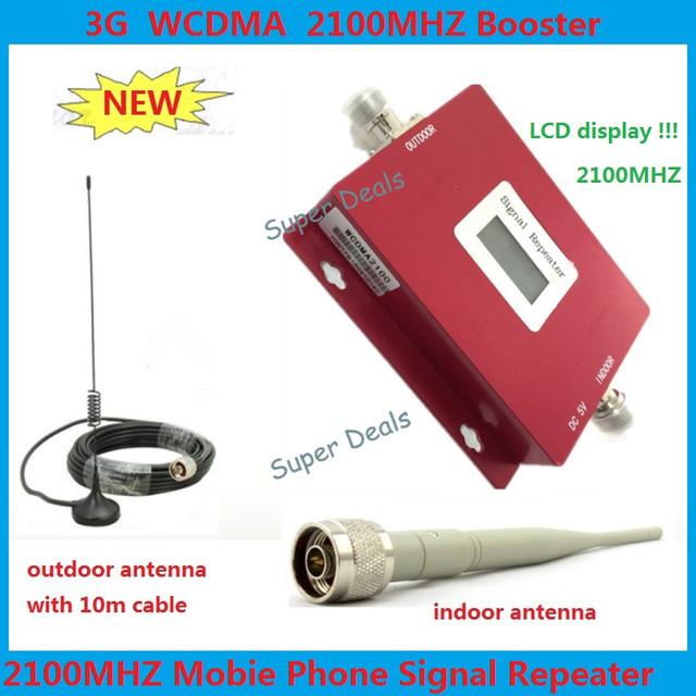 Lintratek 3G Pantalla LCD W-CDMA Repetidor Del Teléfono Móvil Amplificador de Señal 2100 mhz 70db de Alta Ganancia UMTS 2100 mhz Celular Potenciadores de la señal