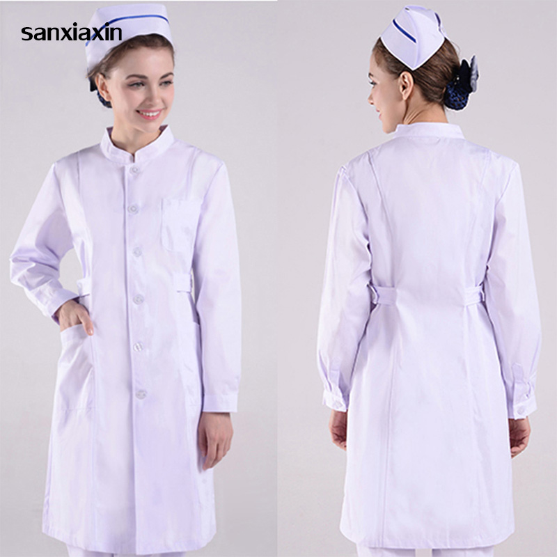 Sanxiaxin Cheap Hospital Medical Scrub Set Design Slim Fit Dental Scrubs Beauty Salon Nurse Uniform Spa Nurse Uniform White Coat