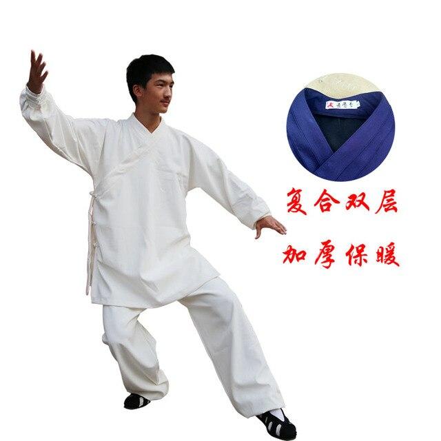 Пользовательские 4 Цвета Белье утолщаются Удан Даосский Халат Стиль Тай Вин Чун чи Костюм Шаолинь Кунг-фу Униформа боевые искусства одежда