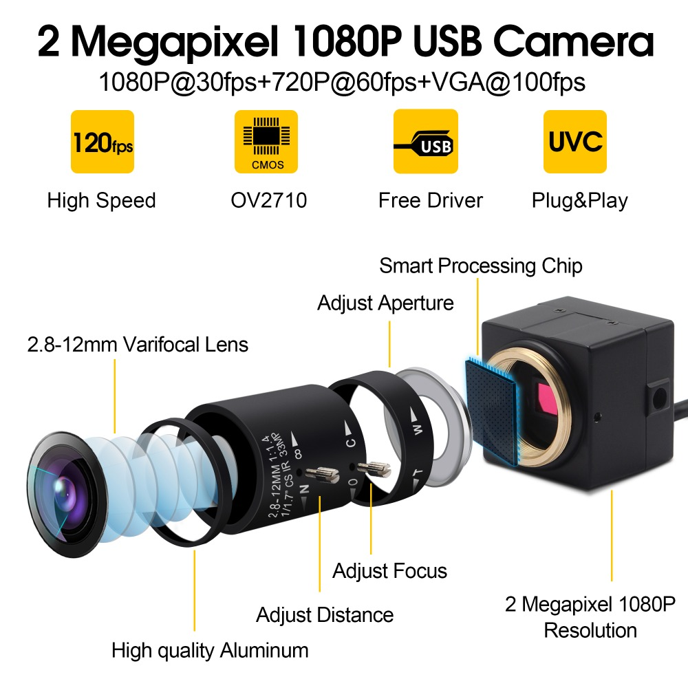 CCTV 2.8 12mm Varifocal lens Full hd 1080P CMOS OV2710 30fps/60fps/120fps Industrial usb camera UVC for android ,linux,windows-in Surveillance Cameras from Security & Protection    2
