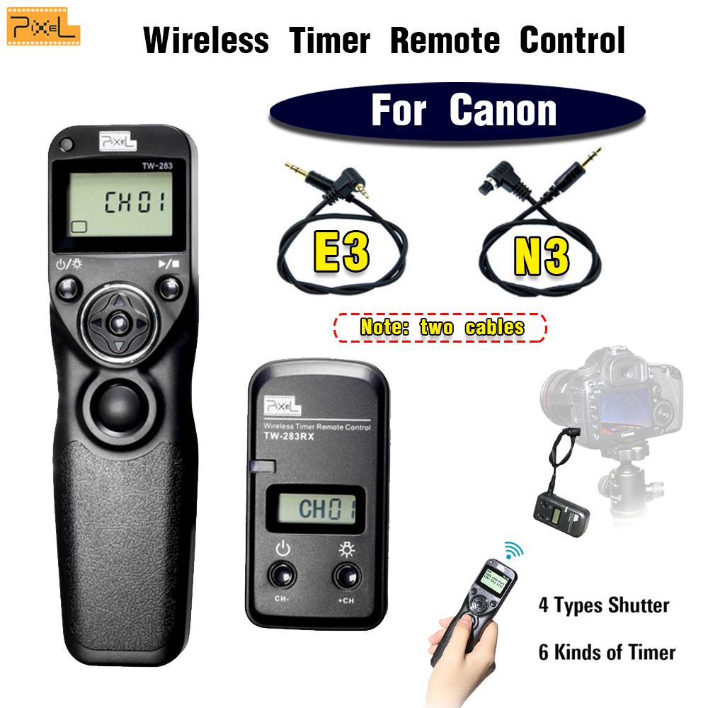 Pixel TW-283 N3 E3 Wireless Timer Remote Control Shutter Release Cable For Canon 60D 700D 650D 600D 550D 450D 400D 300D 1100D 5D meyin rs 802 e3 wired remote shutter release for canon black 90cm cable