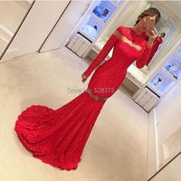 YNQNFS PD4 Vestido de Festa Longo Prom Party Sexy Mermaid Long Sleeves Red Lace Dress See Through