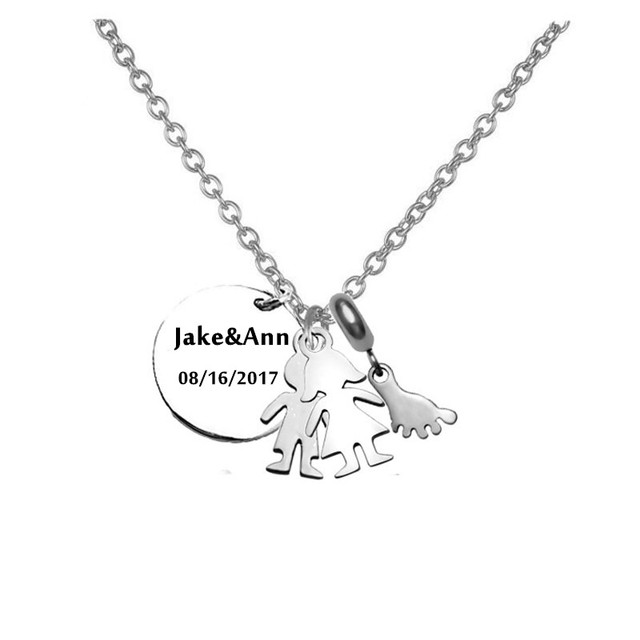 mom papa gift personalized baby twins name necklace pendant with