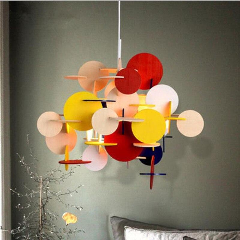Modern Loft Multicolor DIY Wood Pendant Light Creative Italy Designer Kid's Room Hanging Light Led Light Fixtures Free Shipping