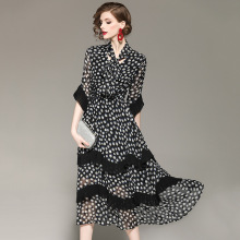 Bow Tie  Collar Ruffles Polka Dot Printed Chiffon  Bohemian Dress