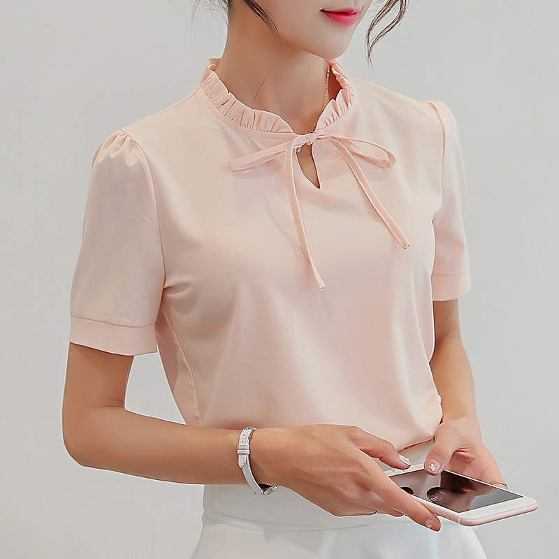Summer White Blouse 2017 New Fashion Women Short Sleeve Shirts Slim Casual Tops Elegant Lace Up