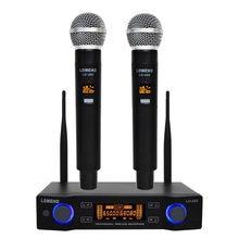 Microphone professionnel sans fil, facile à utiliser, 2 fréquences UHF portables, Capsule dynamique, 2 canaux, pour système karaoké