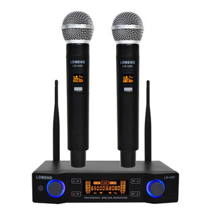 Image 1 - LO U02 Easy to use Professional 2 Handheld UHF Frequencies Dynamic Capsule 2 Channel Wireless Microphone for Karaoke System