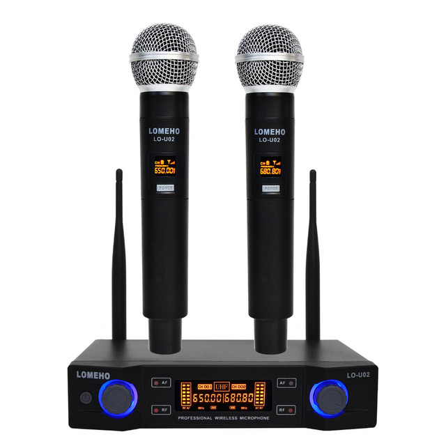 LO U02 Easy to use Professional 2 Handheld UHF Frequencies Dynamic Capsule 2 Channel Wireless Microphone for Karaoke System